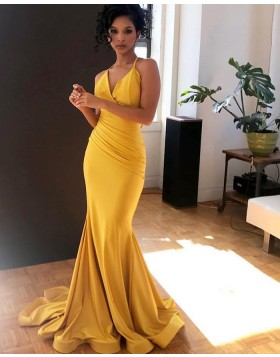 Simple Spaghetti Straps Yellow Ruched Mermaid Prom Dress pd1577