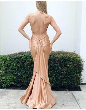 Simple Spaghetti Straps Satin Nude Mermaid Prom Dress pd1578