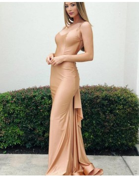 Simple Spaghetti Straps Satin Nude Mermaid Prom Dress pd1578