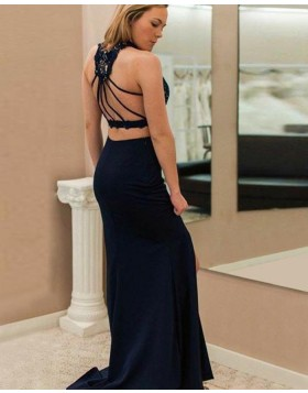 High Neck Two Piece Lace Bodice Navy Blue Prom Dress pd1579
