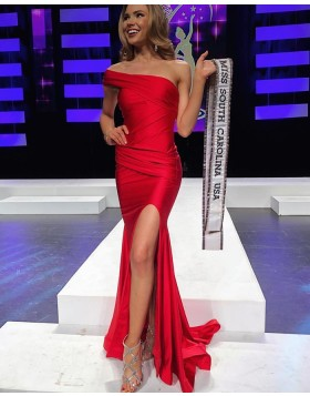 One Shoulder Ruched Red Satin Prom Dress with Side Slit pd1580