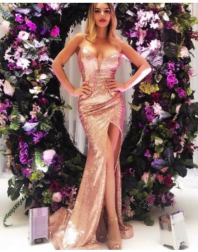 7c9202f2 Spaghetti Straps Rose Gold Ruched Sequin Prom Dress with Side Slit pd1581  ...