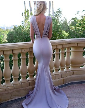 Deep V-neck Blue Pleated Mermaid Bridesmaid Dress pd1583