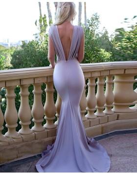 Deep V-neck Blue Pleated Mermaid Bridesmaid Dress pd1583