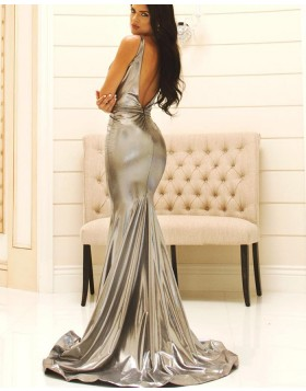Square Silver Metallic Pleated Mermaid Prom Dress pd1584