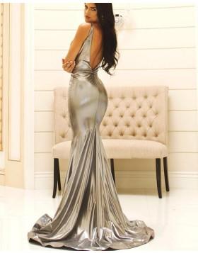 Square Silver Metallic Pleated Mermaid Prom Dress pd1584