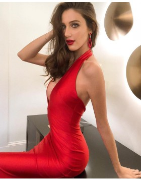 Simple Deep V-neck Satin Red Mermaid Evening Dress pd1585