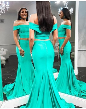Off the Shoulder Two Piece Green Mermaid Prom Dress pd1588