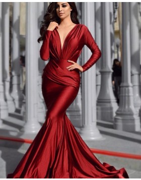 Deep V-neck Burgundy Ruched Satin Mermaid Prom Dress with Long Sleeves pd1590