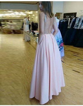 Scoop Pink Beading Satin Prom Dress with Pockets pd1592