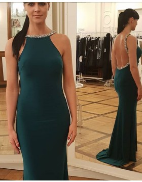 Jewel Dark Green Beading Satin Mermaid Prom Dress pd1593
