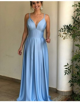 Simple Spaghetti Straps Blue Pleated Satin Prom Dress pd1595