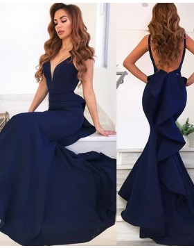 Simple Deep V-neck Navy Blue Mermaid Satin Evening Dress with Ruffled Back pd1596