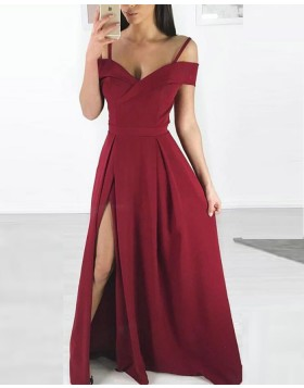Cold Shoulder Burgundy Pleated Long Prom Dress with Side Slit pd1599