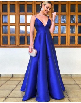 Simple Spaghetti Straps Blue Empire Pleated Evening Dress pd1600