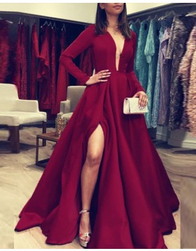 Deep V-neck Burgundy Satin Simple Evening Dress with Long Sleeves pd1601