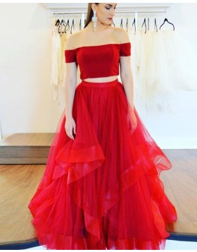 Off the Shoulder Red Two Piece Tulle Ruffled Prom Dress pd1604