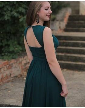 V-neck Dark Green Satin A-line Prom Dress with Beading Belt pd1606