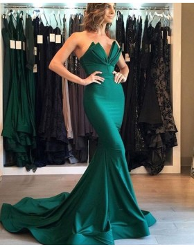 Simple Ruched Sweetheart Green Mermaid Style Satin Evening Dress pd1608