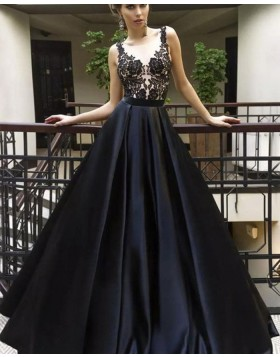 V-neck Lace Bodice Black Satin Pleated Prom Dress pd1609