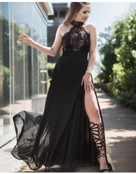 High Neck Black Lace Bodice Tulle Prom Dress pd1611