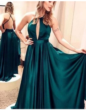 Simple Spaghetti Straps Green Pleated Satin Prom Dress pd1614