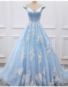 Off the Shoulder Light Blue Tulle Appliqued Evening Gown pd1615