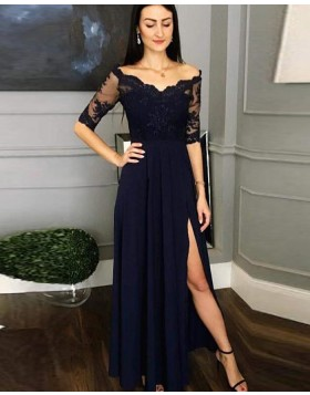 Off the Shoulder Navy Blue Lace Bodice Prom Dress with Half Length Sleeves pd1618