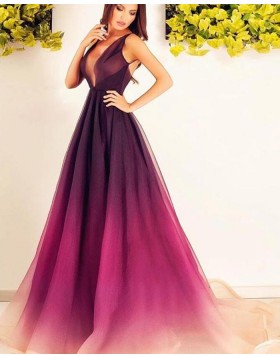Elegant V-neck Ombre Tulle Pleated Evening Dress pd1619
