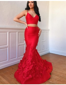 Two Piece Red Spaghetti Straps Mermaid Prom Dress with Handmade Flowers pd1543