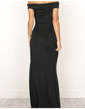 Off the Shoulder Simple Black Mermaid Prom Dress with Side Slit PM1200