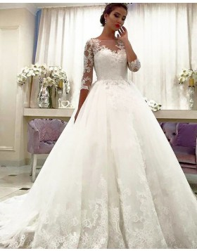 Bateau Neck Lace Appliqued Ball Gown Wedding Dress with Half Length Sleeves WD2066